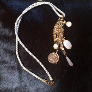 Long gold and cream necklace